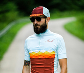 Azure rhombus jersey by Mack Cycling